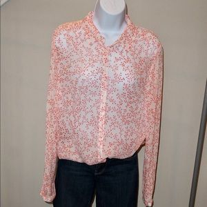 Boden Printed Sheer Button Down Blouse- Size 6